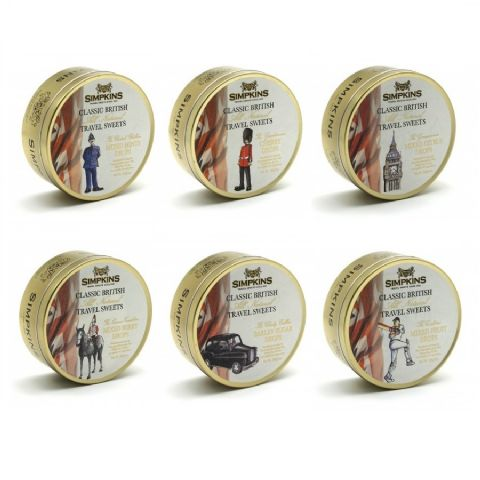 Classic British / London - Simpkins All Natural Travel Sweets 200g (Set of 6 Gold Tins)